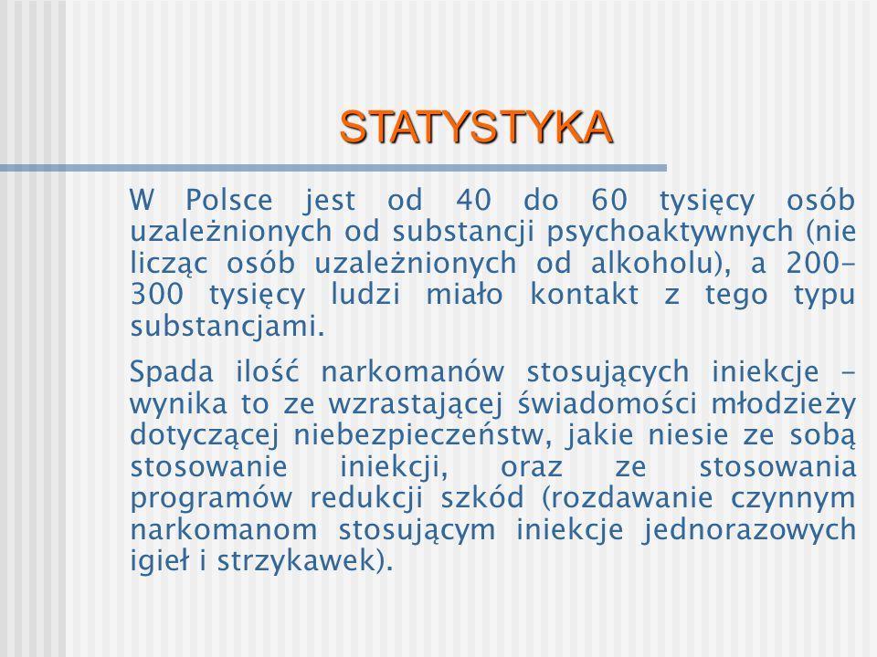STATYSTYKA W Polsce jest od 40 do 60 tysięcy osób uzależnionych od substancji psychoaktywnych (nie licząc osób uzależnionych od alkoholu), a 200- 300
