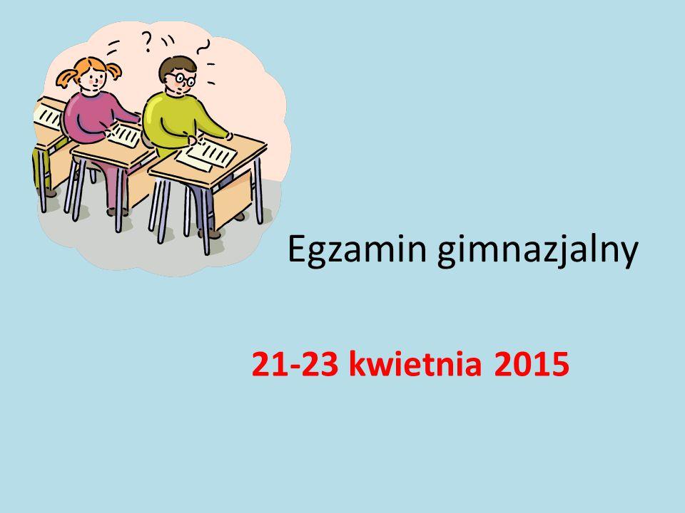 Egzamin gimnazjalny 21-23 kwietnia 2015