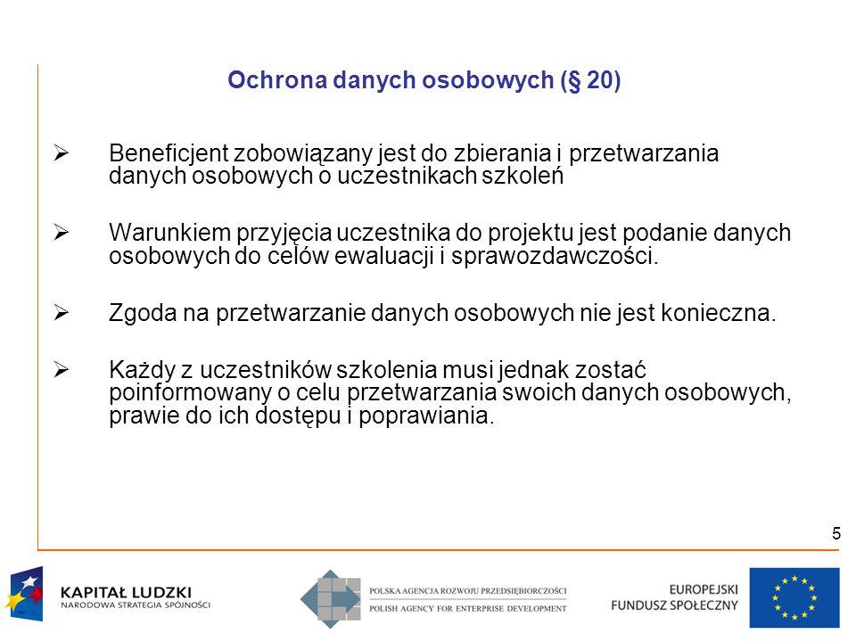 """6 Obowiązki informacyjne (§ 21)  Beneficjent zobowiązany jest do:  prowadzenia działań informacyjnych i promocyjnych kierowanych do opinii publicznej, informujących o finansowaniu realizacji projektu przez Unię Europejską  umieszczania obowiązujących logotypów (udostępnionych przez PARP) na dokumentach dotyczących Projektu, (materiały promocyjne, dokumentacja szkoleniowa i edukacyjna, sprzęt finansowany w ramach Projektu, etc.)  przestrzegania reguł informowania o Projekcie i oznaczenia Projektu określonych w """"Wytycznych w zakresie informacji i promocji"""