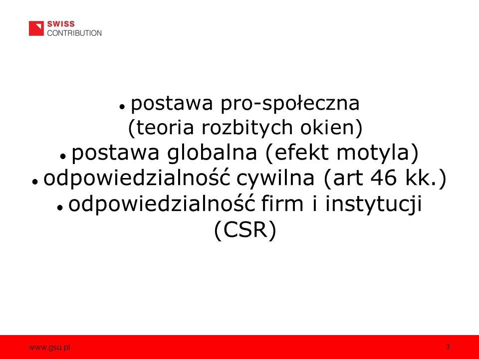 www.gsu.pl 3 postawa pro-społeczna (teoria rozbitych okien) postawa globalna (efekt motyla) odpowiedzialność cywilna (art 46 kk.) odpowiedzialność firm i instytucji (CSR)