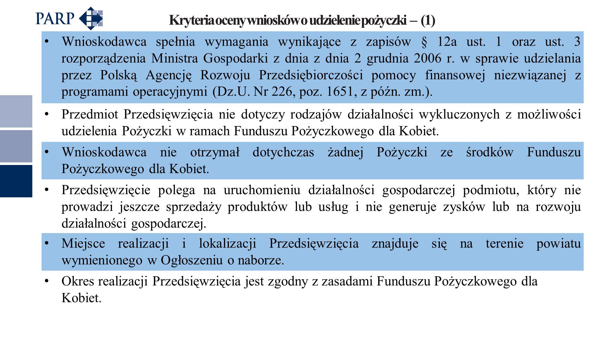 Kryteria oceny wniosków o udzielenie pożyczki – (1) Wnioskodawca spełnia wymagania wynikające z zapisów § 12a ust. 1 oraz ust. 3 rozporządzenia Minist