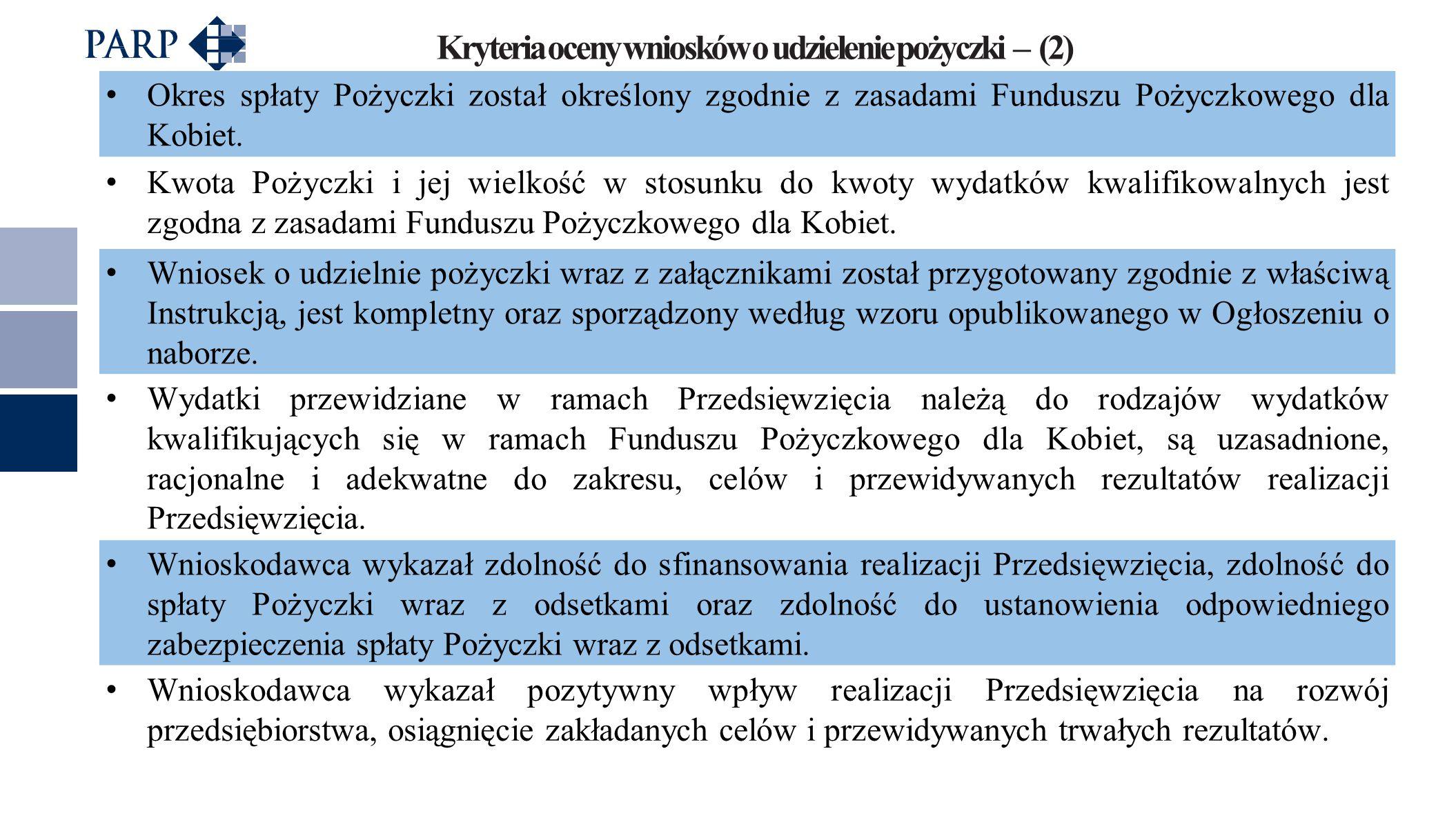 Kryteria oceny wniosków o udzielenie pożyczki – (2) Okres spłaty Pożyczki został określony zgodnie z zasadami Funduszu Pożyczkowego dla Kobiet. Kwota