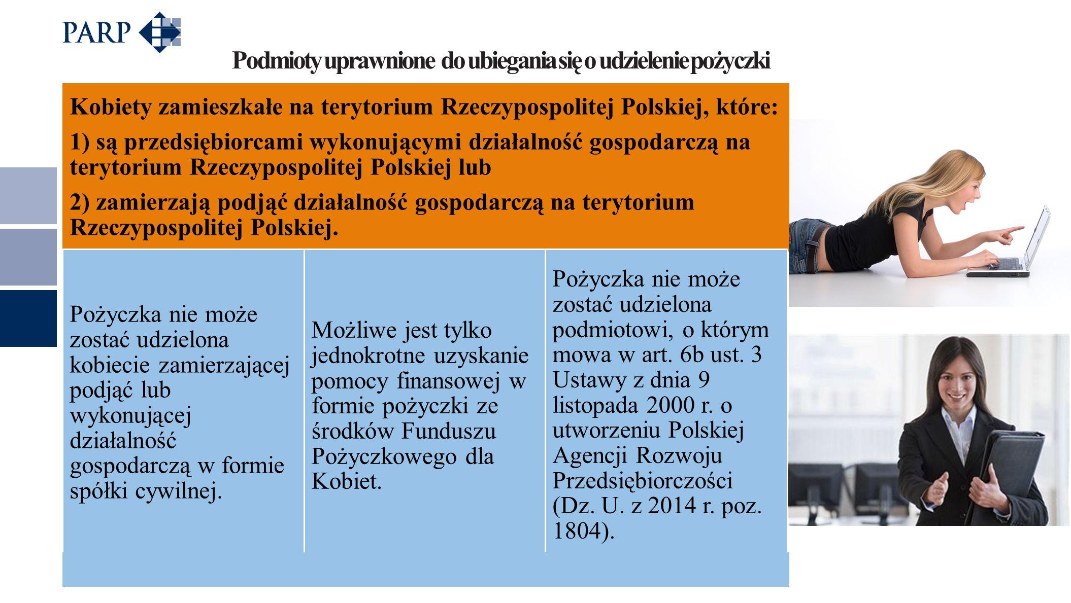 Podmioty uprawnione do ubiegania się o udzielenie pożyczki Kobiety zamieszkałe na terytorium Rzeczypospolitej Polskiej, które: 1) są przedsiębiorcami wykonującymi działalność gospodarczą na terytorium Rzeczypospolitej Polskiej lub 2) zamierzają podjąć działalność gospodarczą na terytorium Rzeczypospolitej Polskiej.