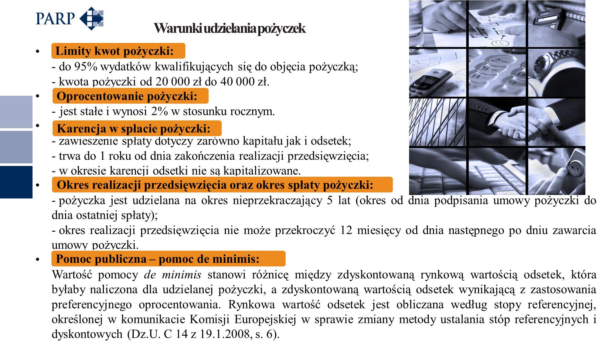 Limity kwot pożyczki: - do 95% wydatków kwalifikujących się do objęcia pożyczką; - kwota pożyczki od 20 000 zł do 40 000 zł.