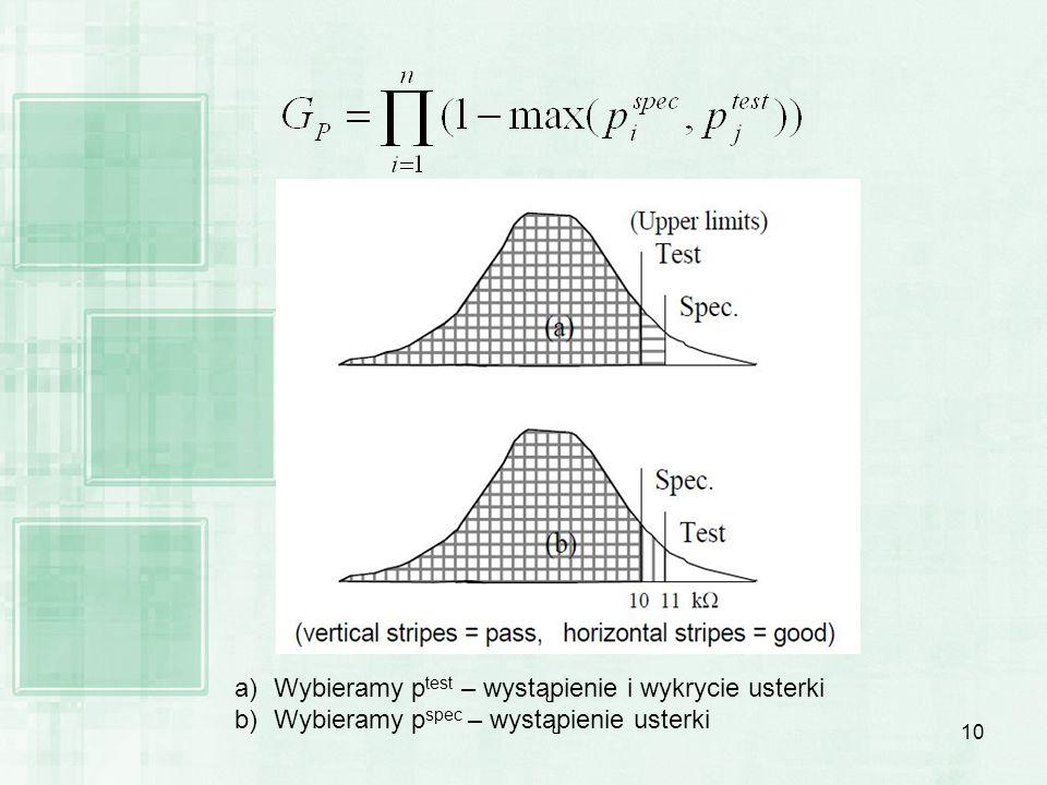 10 a)Wybieramy p test – wystąpienie i wykrycie usterki b)Wybieramy p spec – wystąpienie usterki