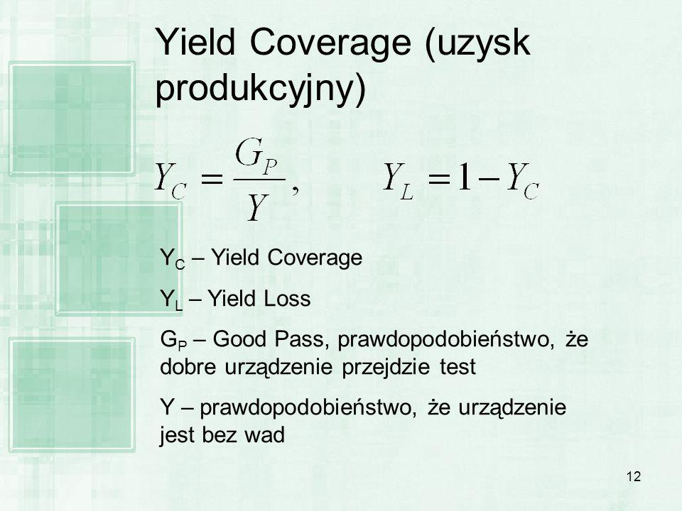 12 Yield Coverage (uzysk produkcyjny) Y C – Yield Coverage Y L – Yield Loss G P – Good Pass, prawdopodobieństwo, że dobre urządzenie przejdzie test Y