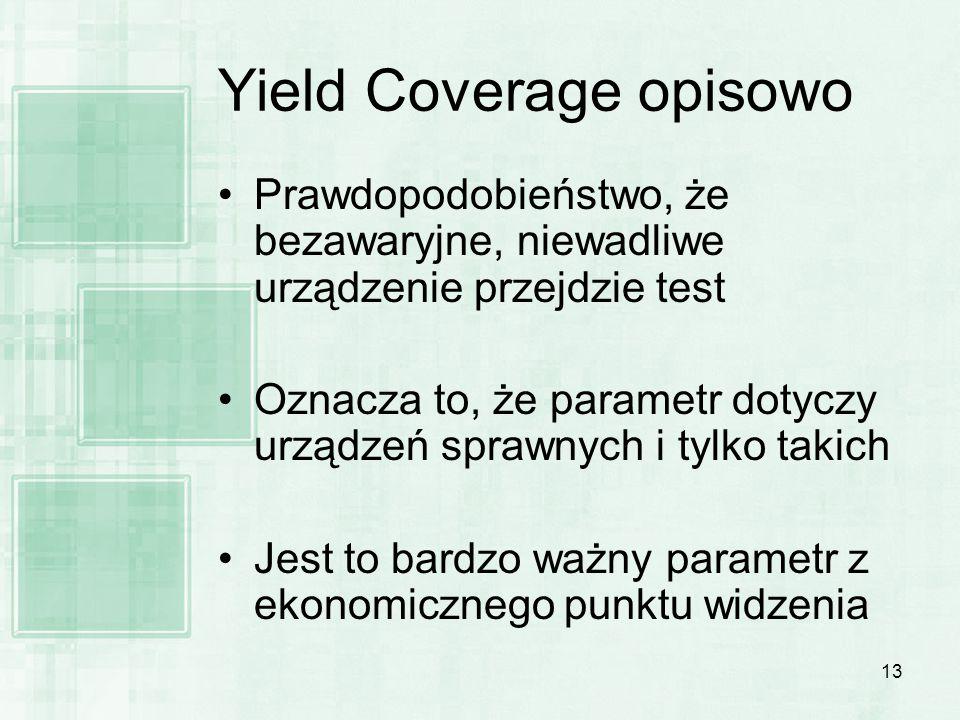 13 Yield Coverage opisowo Prawdopodobieństwo, że bezawaryjne, niewadliwe urządzenie przejdzie test Oznacza to, że parametr dotyczy urządzeń sprawnych