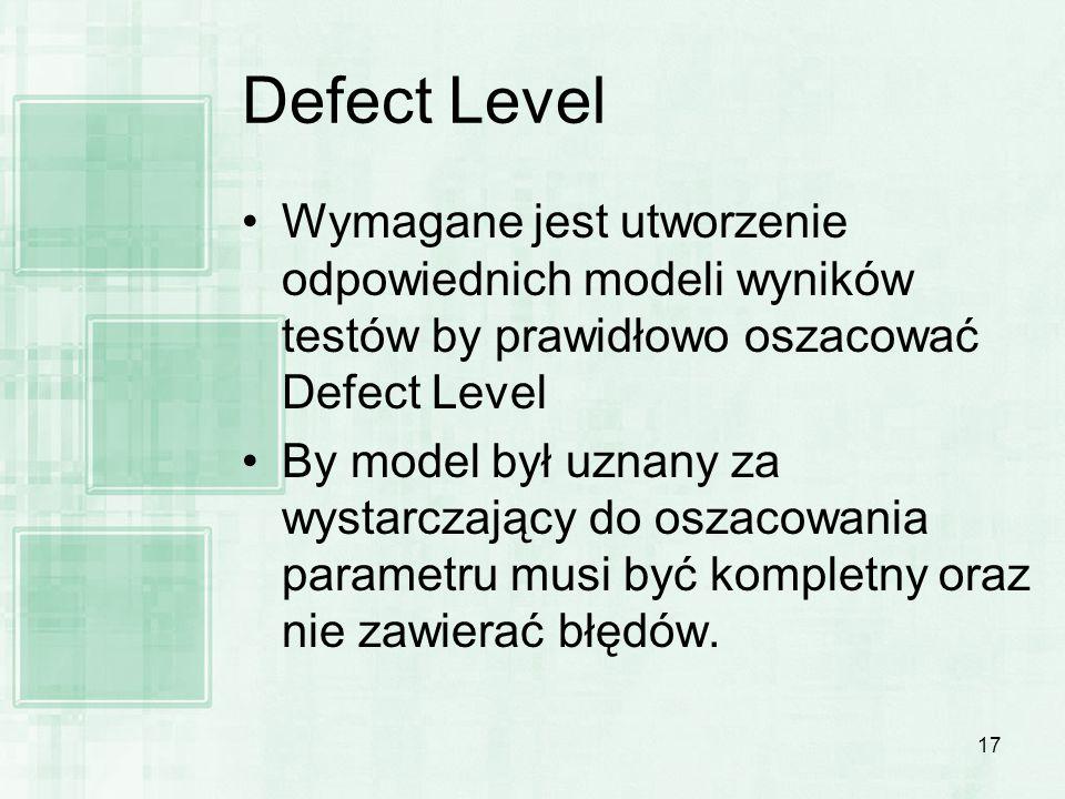17 Defect Level Wymagane jest utworzenie odpowiednich modeli wyników testów by prawidłowo oszacować Defect Level By model był uznany za wystarczający