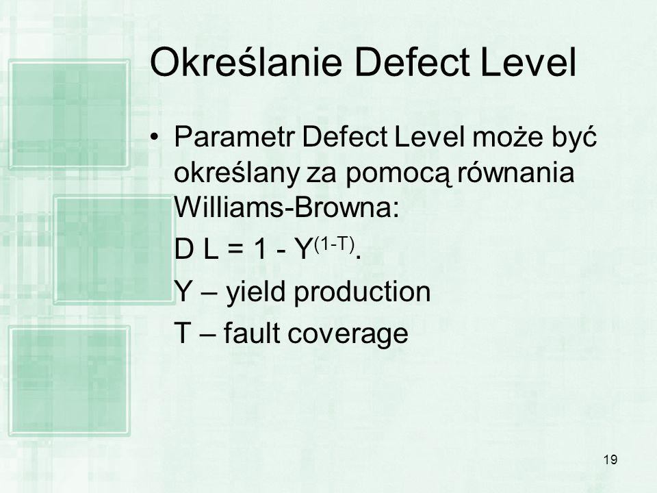 19 Określanie Defect Level Parametr Defect Level może być określany za pomocą równania Williams-Browna: D L = 1 - Y (1-T). Y – yield production T – fa