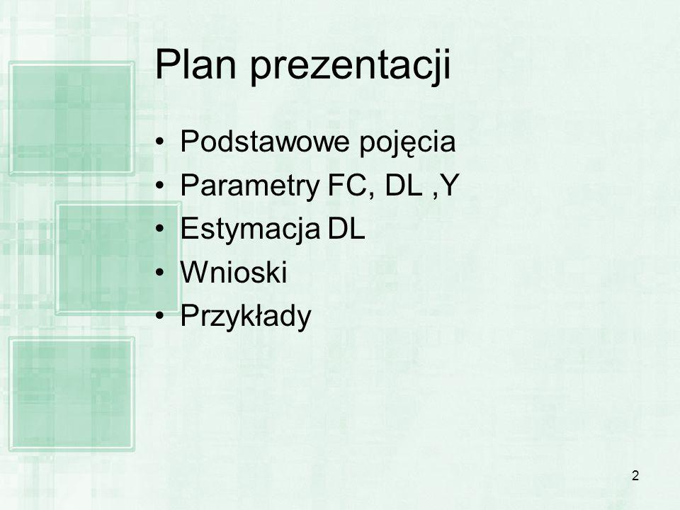 2 Plan prezentacji Podstawowe pojęcia Parametry FC, DL,Y Estymacja DL Wnioski Przykłady