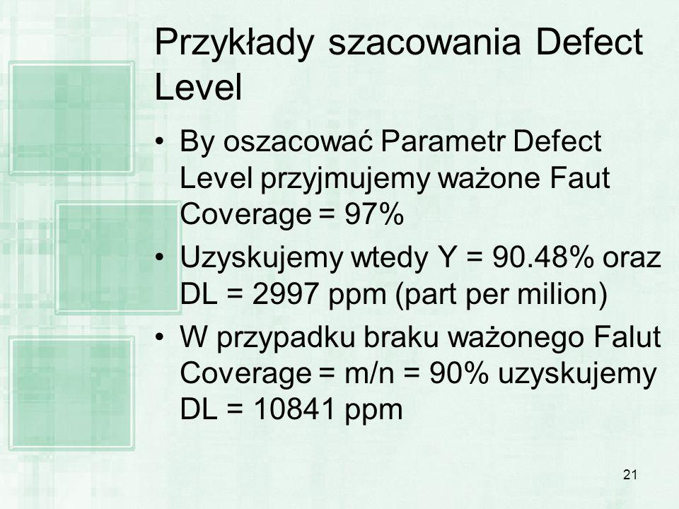21 Przykłady szacowania Defect Level By oszacować Parametr Defect Level przyjmujemy ważone Faut Coverage = 97% Uzyskujemy wtedy Y = 90.48% oraz DL = 2