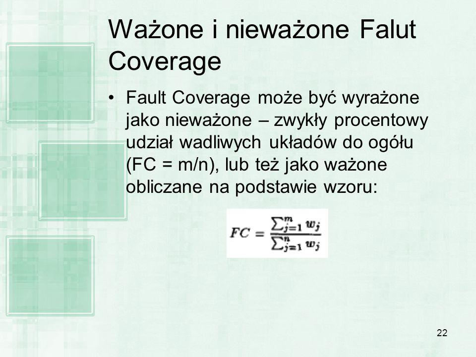 22 Ważone i nieważone Falut Coverage Fault Coverage może być wyrażone jako nieważone – zwykły procentowy udział wadliwych układów do ogółu (FC = m/n),