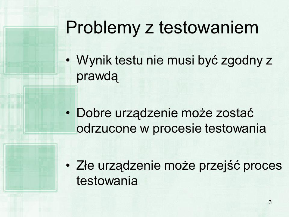 3 Problemy z testowaniem Wynik testu nie musi być zgodny z prawdą Dobre urządzenie może zostać odrzucone w procesie testowania Złe urządzenie może prz