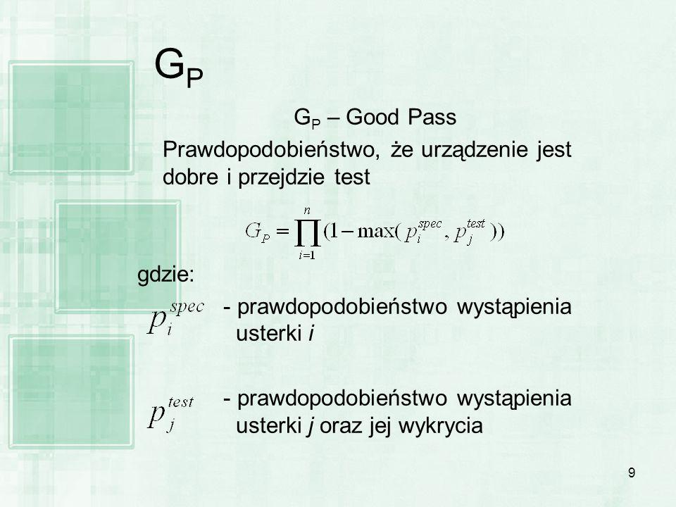9 GPGP G P – Good Pass Prawdopodobieństwo, że urządzenie jest dobre i przejdzie test gdzie: - prawdopodobieństwo wystąpienia usterki i - prawdopodobie