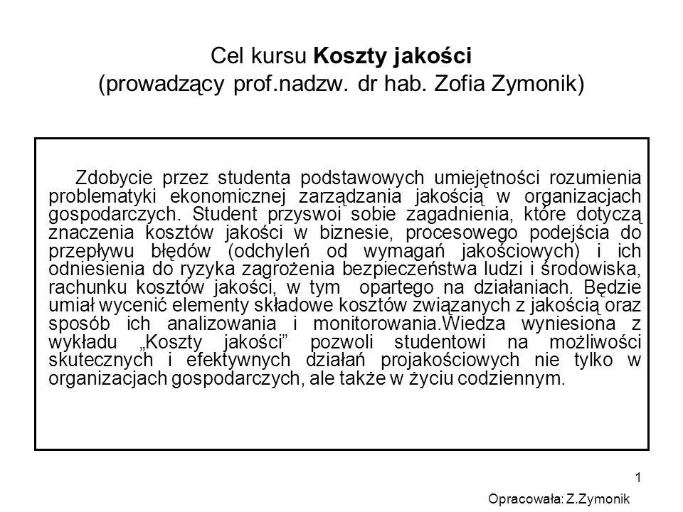 1 Cel kursu Koszty jakości (prowadzący prof.nadzw. dr hab. Zofia Zymonik) Zdobycie przez studenta podstawowych umiejętności rozumienia problematyki ek