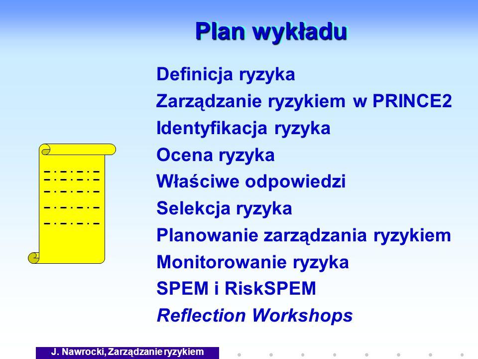 J. Nawrocki, Zarządzanie ryzykiem Plan wykładu Definicja ryzyka Zarządzanie ryzykiem w PRINCE2 Identyfikacja ryzyka Ocena ryzyka Właściwe odpowiedzi S