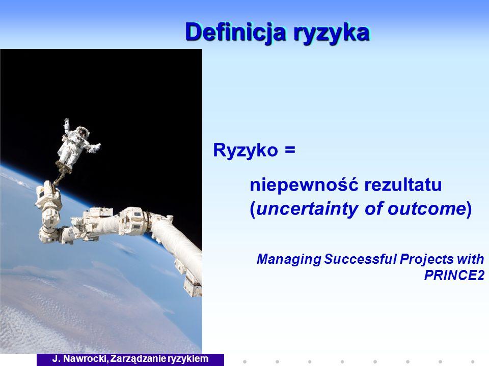 J. Nawrocki, Zarządzanie ryzykiem Definicja ryzyka Ryzyko = niepewność rezultatu (uncertainty of outcome) Managing Successful Projects with PRINCE2