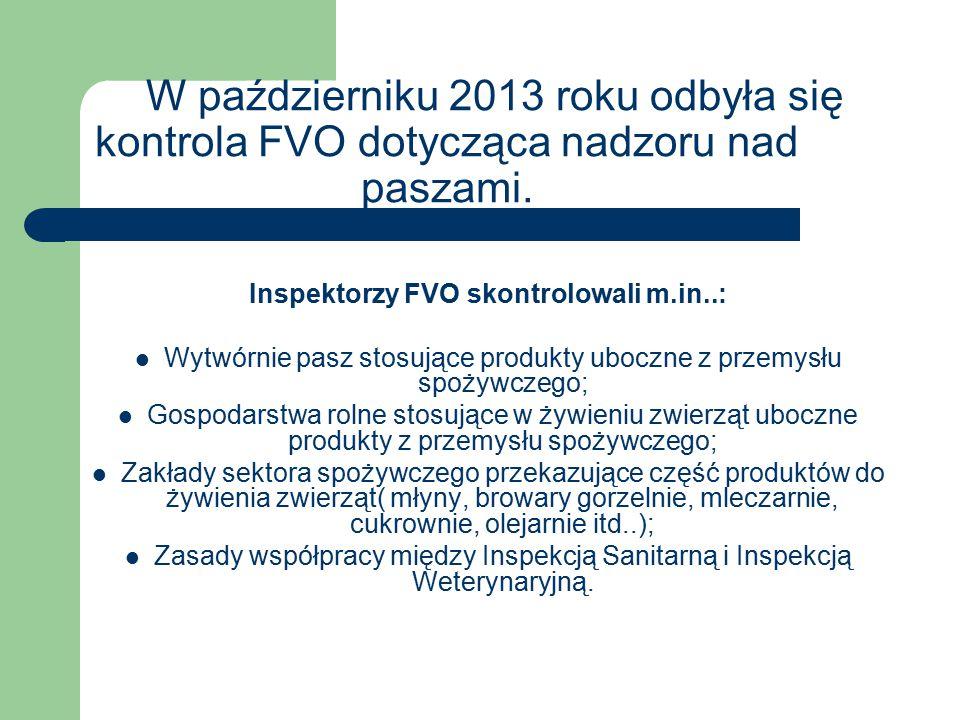 W październiku 2013 roku odbyła się kontrola FVO dotycząca nadzoru nad paszami. Inspektorzy FVO skontrolowali m.in..: Wytwórnie pasz stosujące produkt