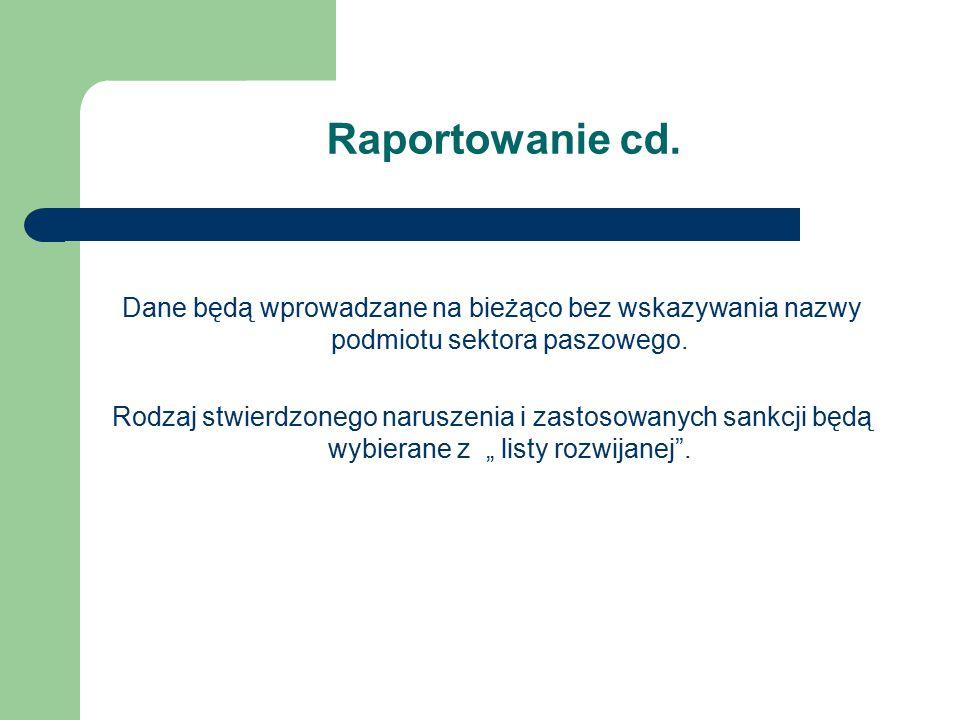 Raportowanie cd. Dane będą wprowadzane na bieżąco bez wskazywania nazwy podmiotu sektora paszowego. Rodzaj stwierdzonego naruszenia i zastosowanych sa