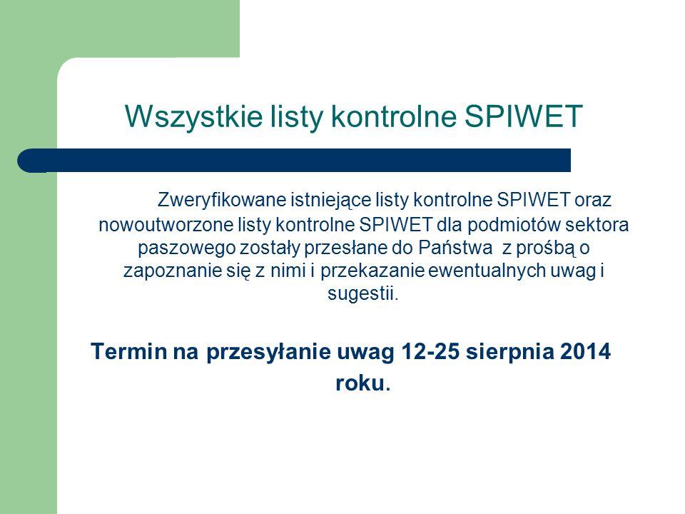 Wszystkie listy kontrolne SPIWET Zweryfikowane istniejące listy kontrolne SPIWET oraz nowoutworzone listy kontrolne SPIWET dla podmiotów sektora paszo