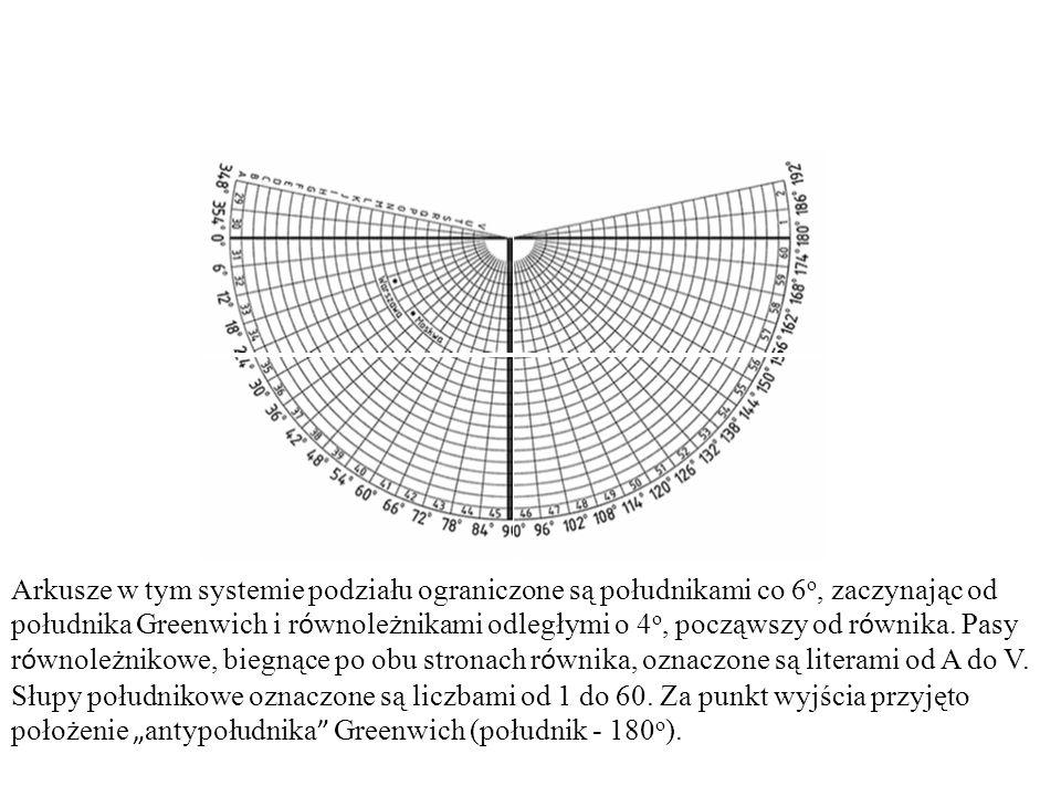 Arkusze w tym systemie podziału ograniczone są południkami co 6 o, zaczynając od południka Greenwich i r ó wnoleżnikami odległymi o 4 o, począwszy od
