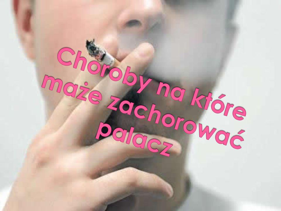  Palenie tytoniu powoduje wiele chorób:  Jamy ustnej Pod wpływem palenia tytoniu następuje wzmożone wydzielanie śliny.