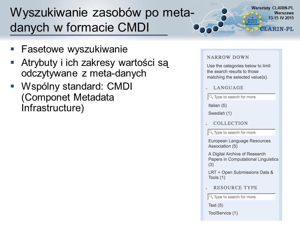 Wyszukiwanie zasobów po meta- danych w formacie CMDI Warsztaty CLARIN-PL Warszawa 13-15 IV 2015 CLARIN-PL  Fasetowe wyszukiwanie  Atrybuty i ich zak