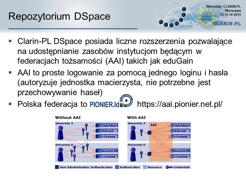 Repozytorium DSpace  Clarin-PL DSpace posiada liczne rozszerzenia pozwalające na udostępnianie zasobów instytucjom będącym w federacjach tożsamości (