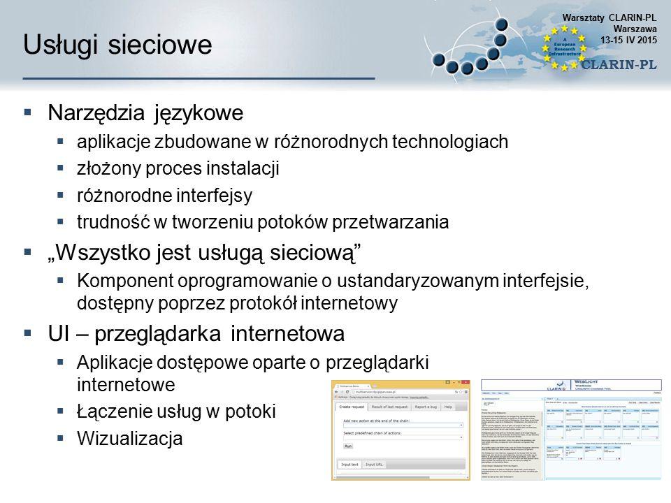 Usługi sieciowe  Narzędzia językowe  aplikacje zbudowane w różnorodnych technologiach  złożony proces instalacji  różnorodne interfejsy  trudność