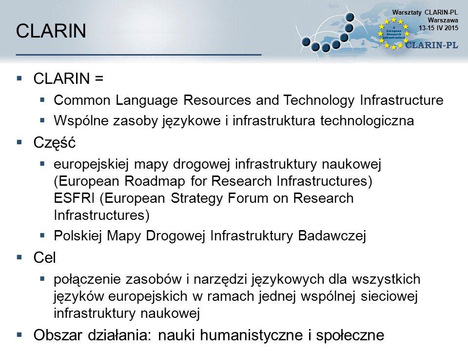 Centrum Technologii Językowych CLARIN-PL www.clarin-pl.eu  Zlokalizowane na Politechnice Wrocławskiej, w ramach Grupy Naukowej G4.19  Zapewnia funkcje sieciowe infrastruktury CLARIN  Udostępnia  repozytorium  usługi do analizy tekstu (i mowy) w języku polskim  zestaw wybranych aplikacji zbudowanych we współpracy z użytkownikami  wsparcie dla użytkowników – naukowców, jako Centrum Wiedzy Warsztaty CLARIN-PL Warszawa 13-15 IV 2015 CLARIN-PL