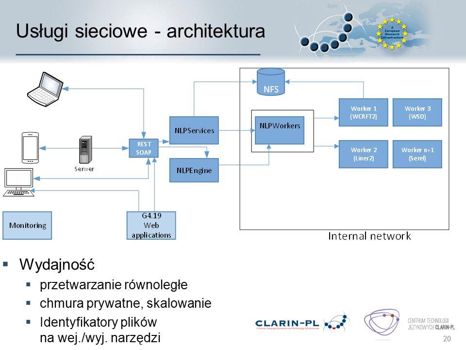 Usługi sieciowe - architektura 20  Wydajność  przetwarzanie równoległe  chmura prywatne, skalowanie  Identyfikatory plików na wej./wyj. narzędzi