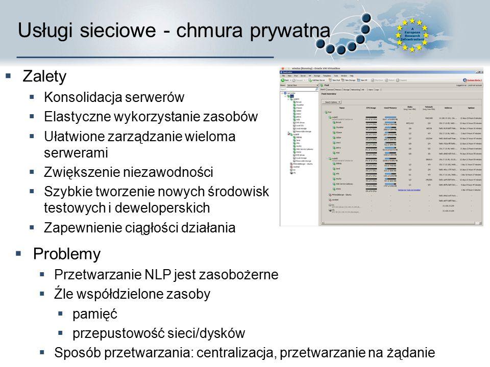 Usługi sieciowe - chmura prywatna  Zalety  Konsolidacja serwerów  Elastyczne wykorzystanie zasobów  Ułatwione zarządzanie wieloma serwerami  Zwię