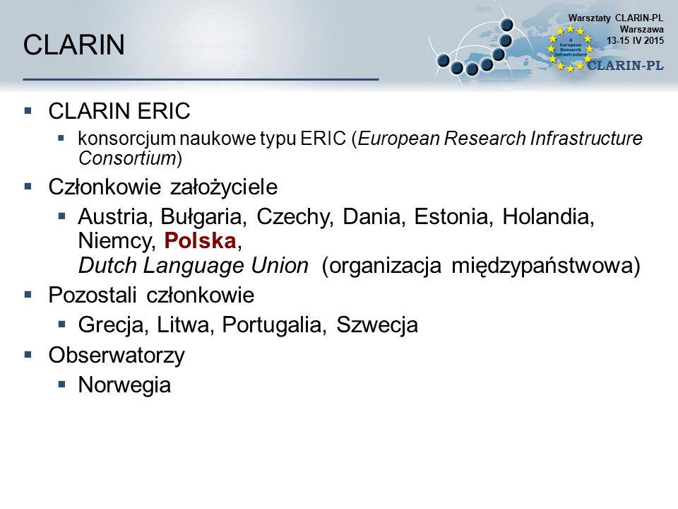 CLARIN  CLARIN ERIC  konsorcjum naukowe typu ERIC (European Research Infrastructure Consortium)  Członkowie założyciele  Austria, Bułgaria, Czechy