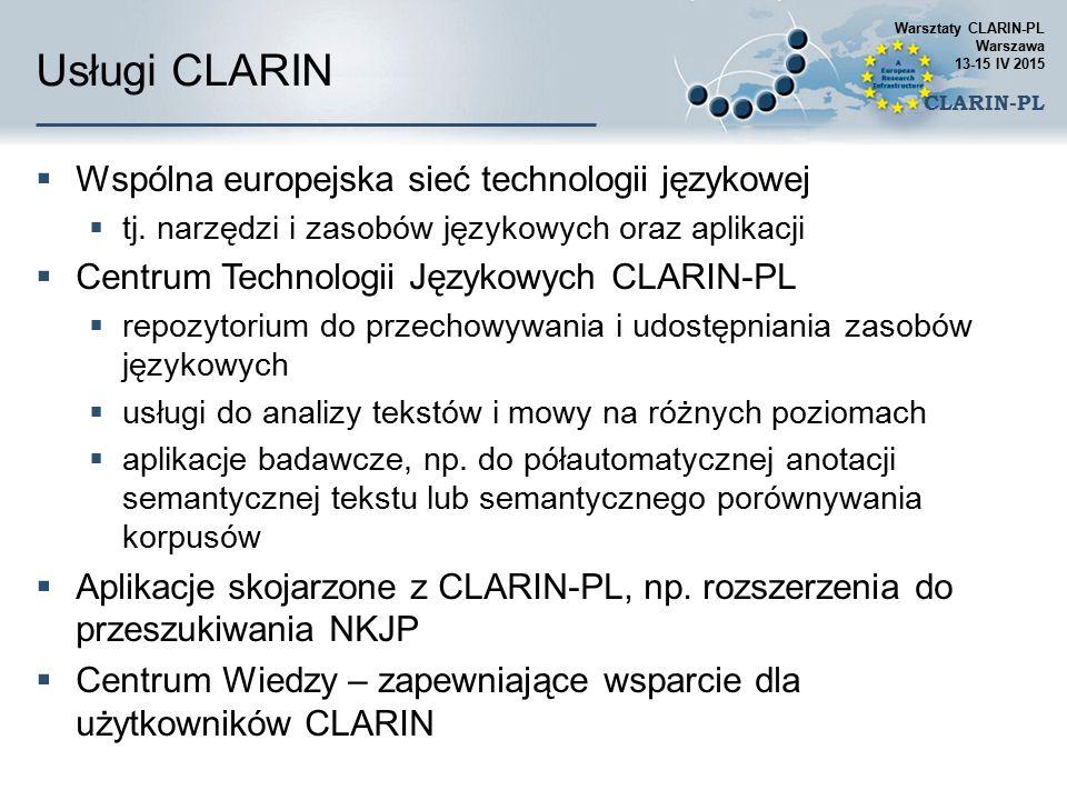 Usługi CLARIN  Wspólna europejska sieć technologii językowej  tj. narzędzi i zasobów językowych oraz aplikacji  Centrum Technologii Językowych CLAR