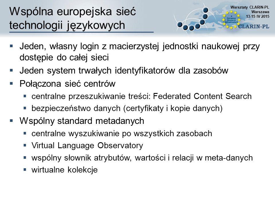 Wspólna europejska sieć technologii językowych  Jeden, własny login z macierzystej jednostki naukowej przy dostępie do całej sieci  Jeden system trw