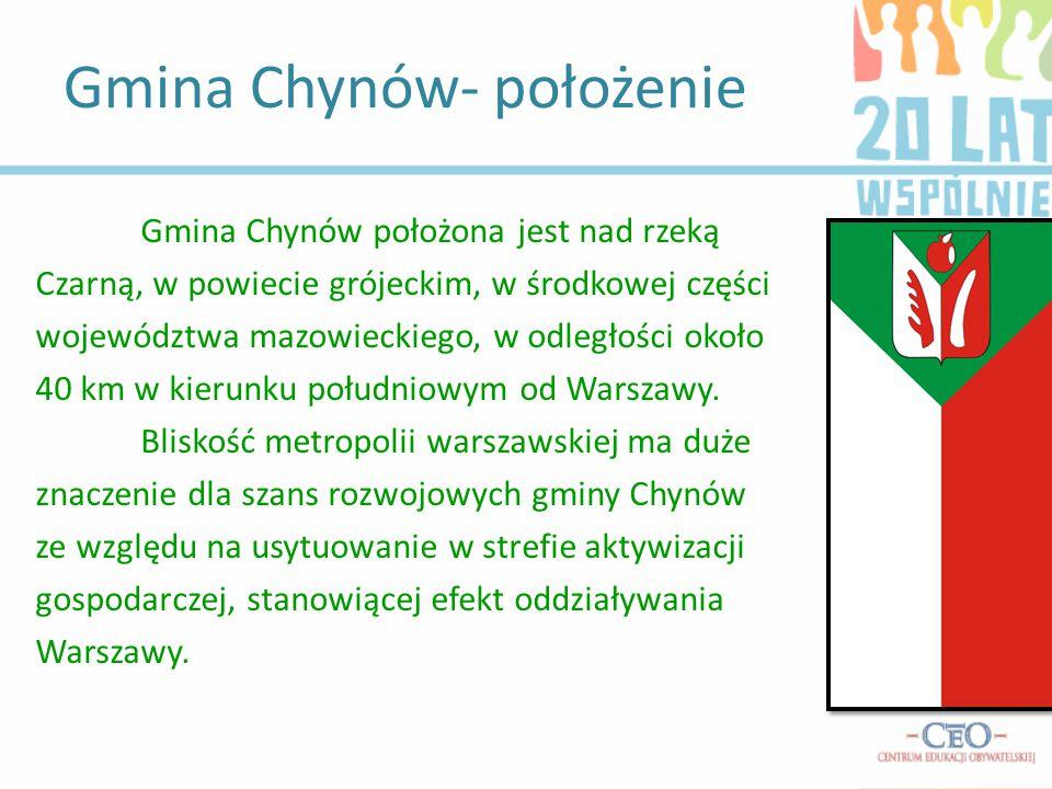 Gmina Chynów położona jest nad rzeką Czarną, w powiecie grójeckim, w środkowej części województwa mazowieckiego, w odległości około 40 km w kierunku południowym od Warszawy.
