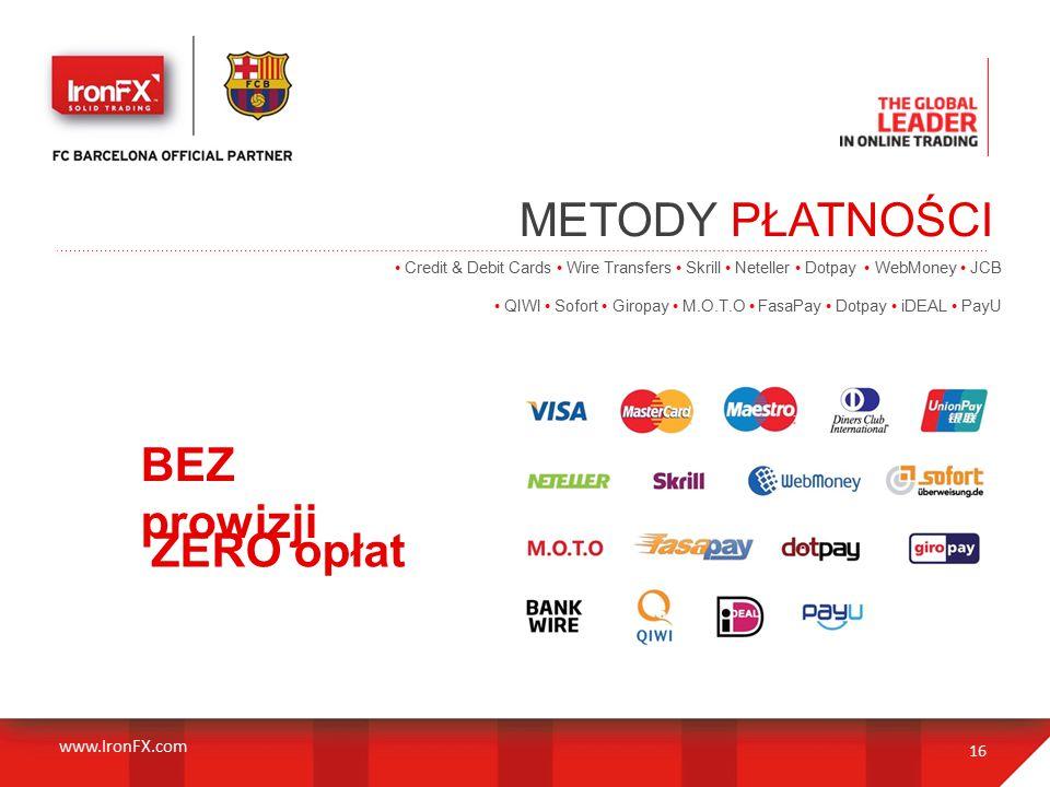 METODY PŁATNOŚCI 16 Credit & Debit Cards Wire Transfers Skrill Neteller Dotpay WebMoney JCB QIWI Sofort Giropay M.O.T.O FasaPay Dotpay iDEAL PayU BEZ prowizji ZERO opłat www.IronFX.com