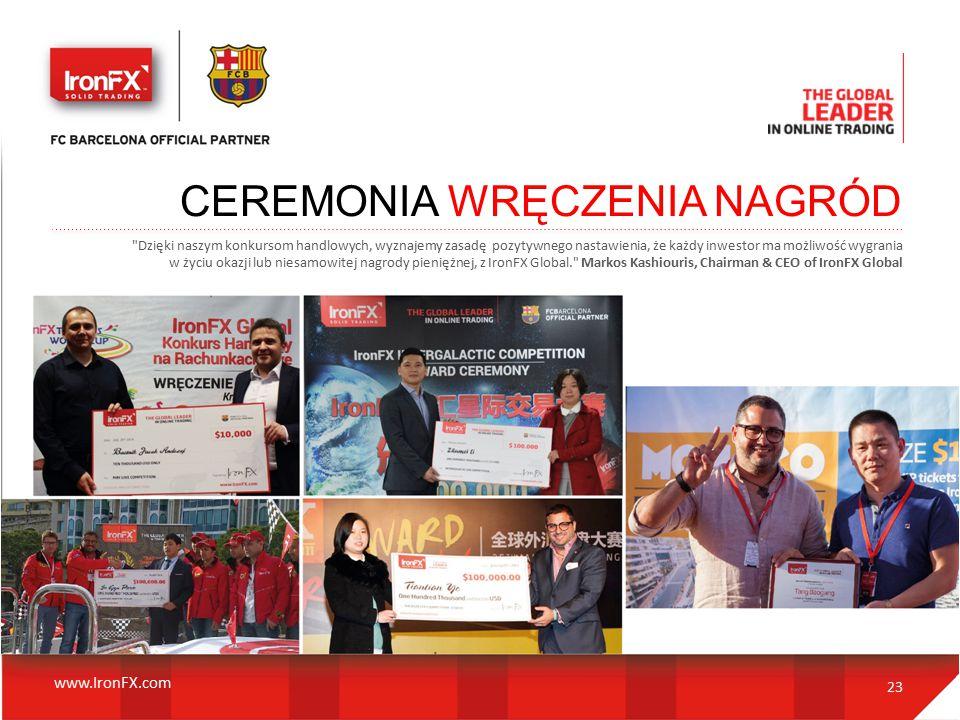 23 CEREMONIA WRĘCZENIA NAGRÓD Dzięki naszym konkursom handlowych, wyznajemy zasadę pozytywnego nastawienia, że każdy inwestor ma możliwość wygrania w życiu okazji lub niesamowitej nagrody pieniężnej, z IronFX Global. Markos Kashiouris, Chairman & CEO of IronFX Global www.IronFX.com