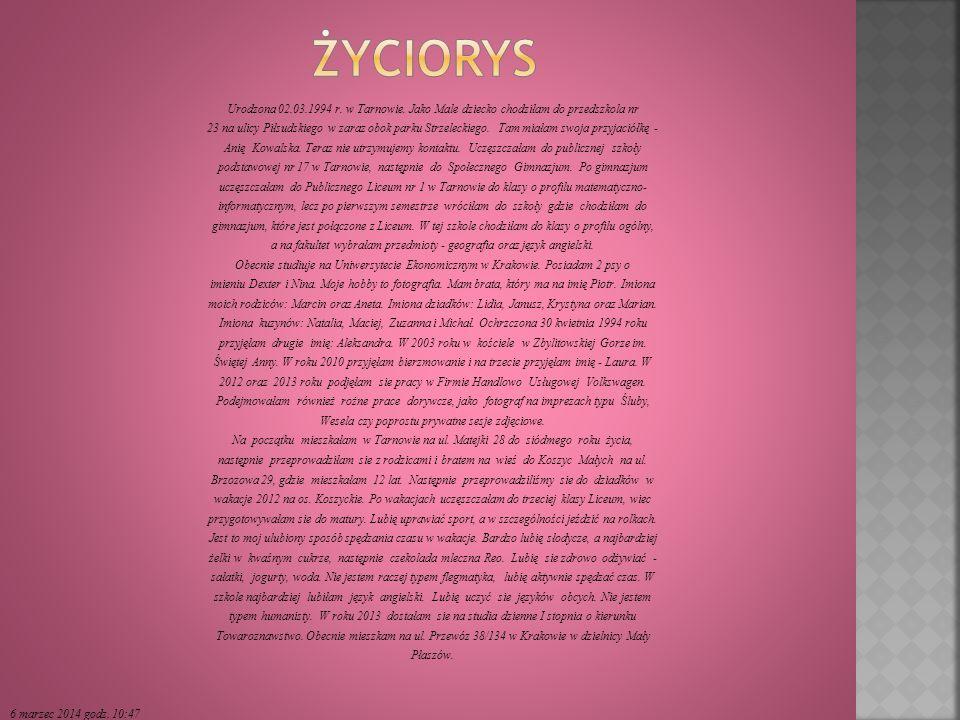 Urodzona 02.03.1994 r.w Tarnowie.