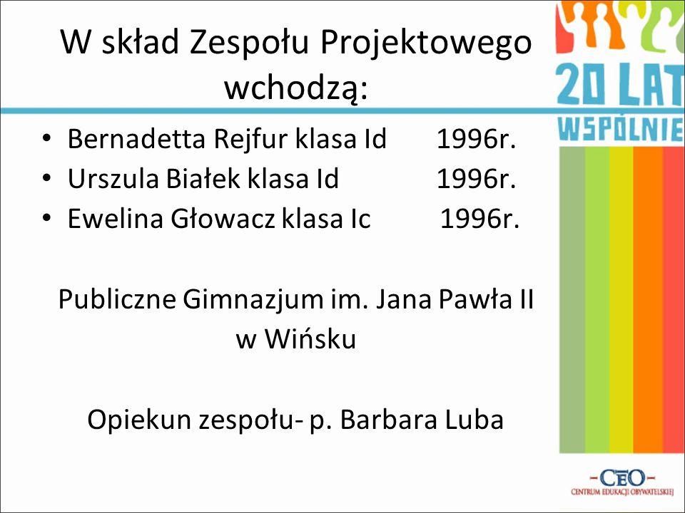 W skład Zespołu Projektowego wchodzą: Bernadetta Rejfur klasa Id 1996r. Urszula Białek klasa Id 1996r. Ewelina Głowacz klasa Ic 1996r. Publiczne Gimna