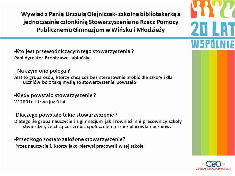 Wywiad z Panią Urszulą Olejniczak- szkolną bibliotekarką a jednocześnie członkinią Stowarzyszenia na Rzecz Pomocy Publicznemu Gimnazjum w Wińsku i Mło