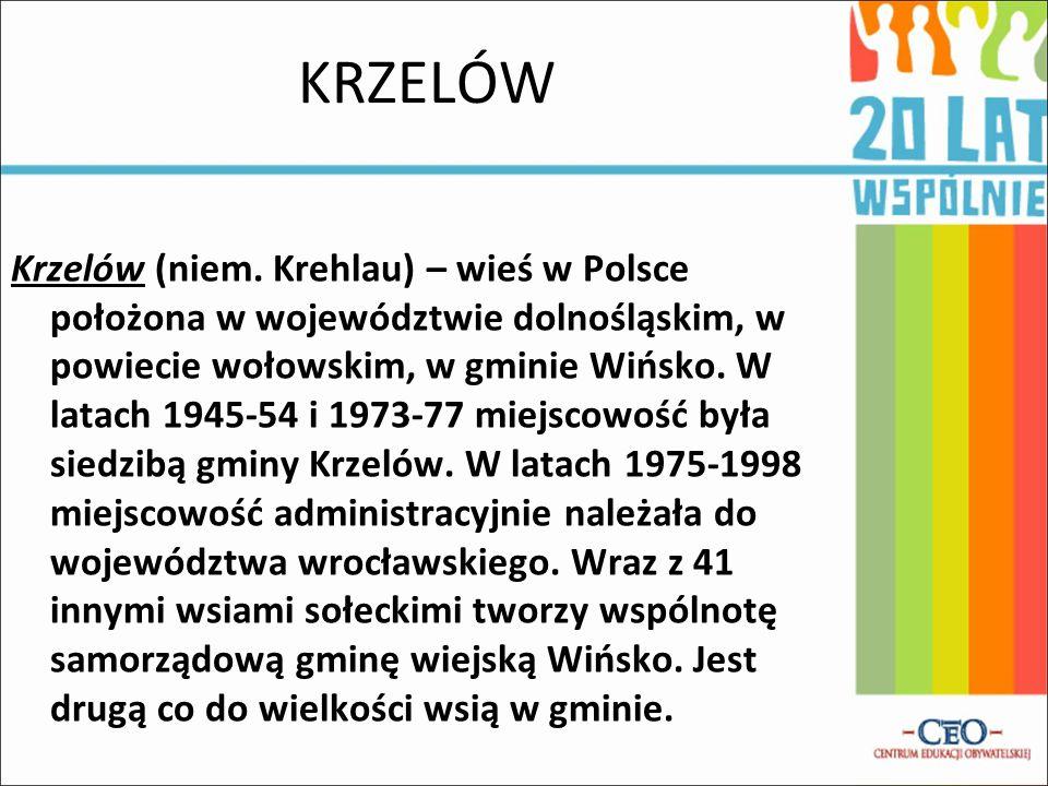 KRZELÓW Krzelów (niem. Krehlau) – wieś w Polsce położona w województwie dolnośląskim, w powiecie wołowskim, w gminie Wińsko. W latach 1945-54 i 1973-7