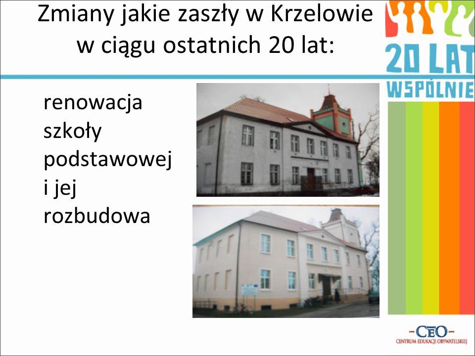 Zmiany jakie zaszły w Krzelowie w ciągu ostatnich 20 lat: renowacja szkoły podstawowej i jej rozbudowa