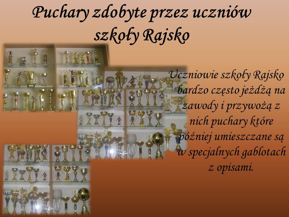 Puchary zdobyte przez uczniów szkoły Rajsko Uczniowie szkoły Rajsko bardzo często jeżdżą na zawody i przywożą z nich puchary które później umieszczane