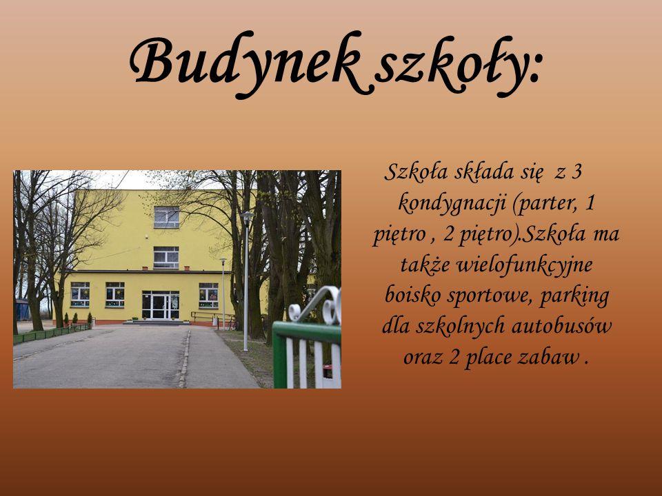 Budynek szkoły: Szkoła składa się z 3 kondygnacji (parter, 1 piętro, 2 piętro).Szkoła ma także wielofunkcyjne boisko sportowe, parking dla szkolnych a