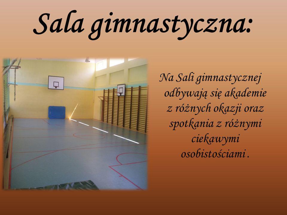 Sala gimnastyczna: Na Sali gimnastycznej odbywają się akademie z różnych okazji oraz spotkania z różnymi ciekawymi osobistościami.