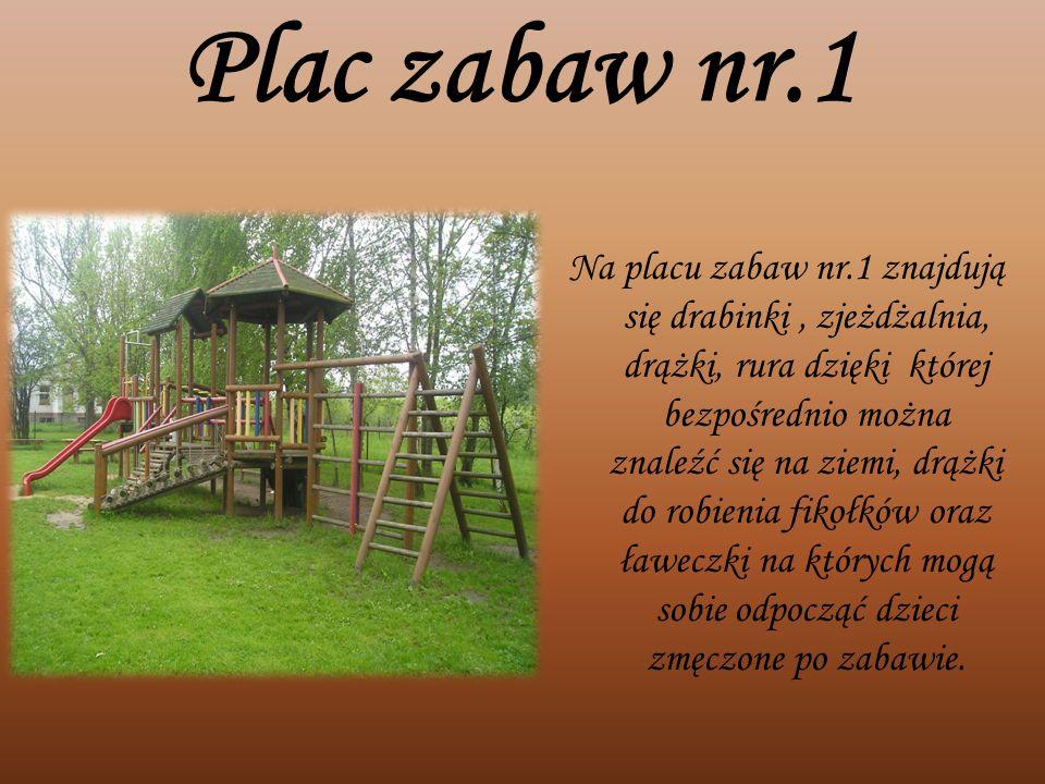 Plac zabaw nr.1 Na placu zabaw nr.1 znajdują się drabinki, zjeżdżalnia, drążki, rura dzięki której bezpośrednio można znaleźć się na ziemi, drążki do
