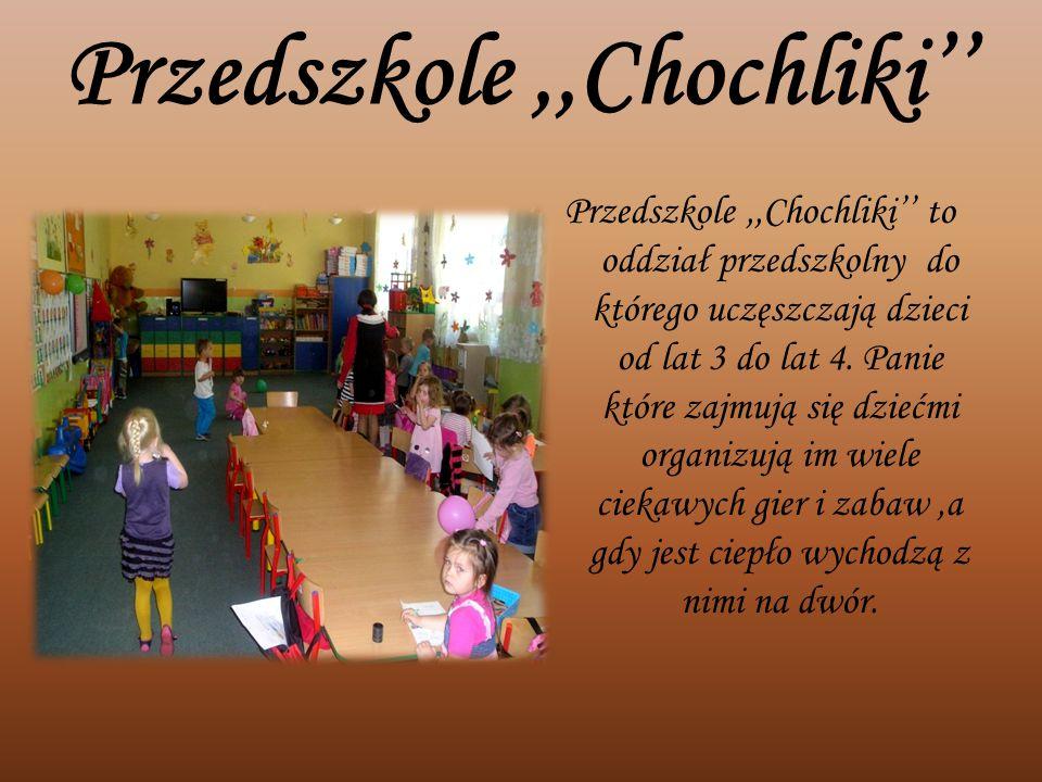Przedszkole,,Chochliki'' Przedszkole,,Chochliki'' to oddział przedszkolny do którego uczęszczają dzieci od lat 3 do lat 4. Panie które zajmują się dzi