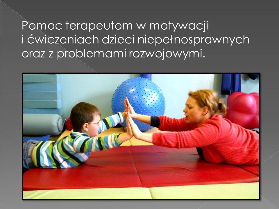 Pomoc terapeutom w motywacji i ćwiczeniach dzieci niepełnosprawnych oraz z problemami rozwojowymi.