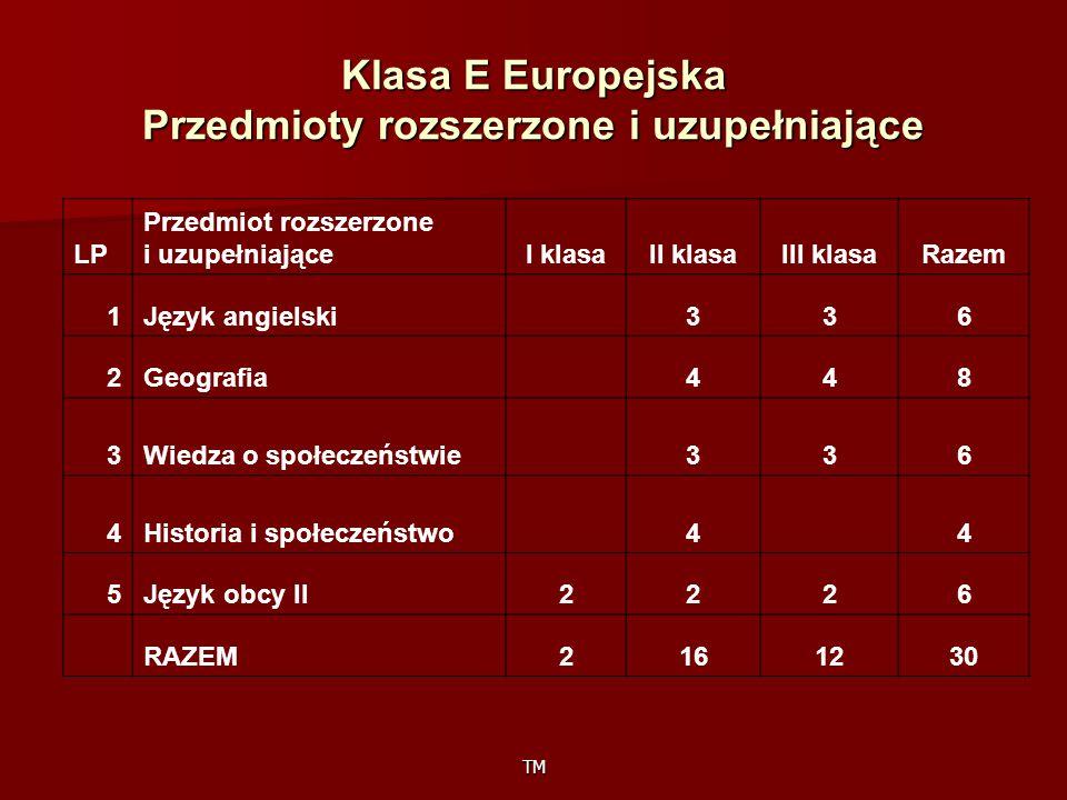 TM Klasa E Europejska Przedmioty rozszerzone i uzupełniające LP Przedmiot rozszerzone i uzupełniająceI klasaII klasaIII klasaRazem 1Język angielski 336 2Geografia 448 3Wiedza o społeczeństwie 336 4Historia i społeczeństwo 4 4 5Język obcy II2226 RAZEM2161230